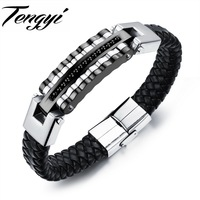 Handmade Genuine Leather Weaved Bracelet Men Stainless Steel Leather Black Casual Sporty Bicycle Motorcycle Bangle TY993