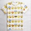 Mulheres/Homens de Impressão 3D Emoji camiseta Smiley Emoção Encantador Engraçado Dos Desenhos Animados T-Shirt de Manga Curta Encabeça Tee para Meninos meninas