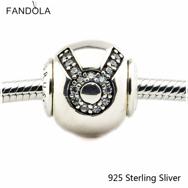 2.5MM Taurus Star Sign Silver Charms Authenic 925 Sterling Silver Fit Bracelet Jewelry DIY Bead for Women Jewelry Making Gift