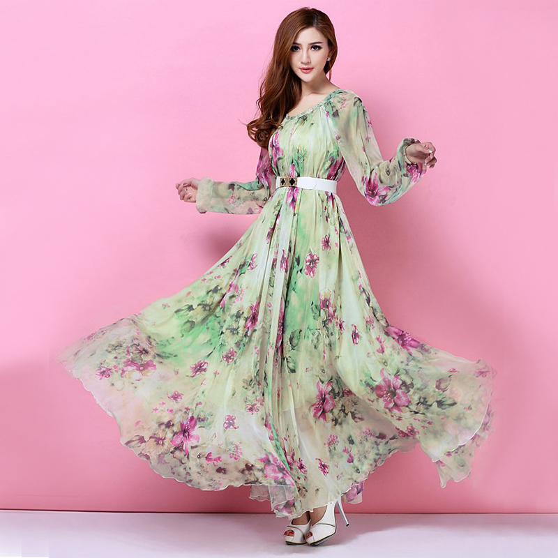 2015 Spring Long Sleeved Bohemia Floral Beach Dress Summer Casual Loose Dresses Lightweight Sexy Chiffon Sundress