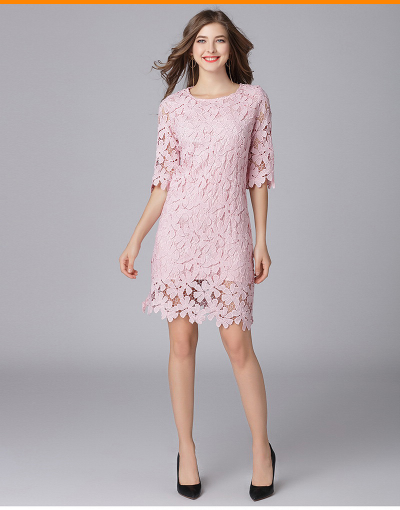 MUSENDA Plus Size Women Pink Hollow Out Lace 1 2 Sleeve Dress New 2018  Spring Female Sweet Party Dresses Vestido Robe Clothing 95fbb0cea6e7