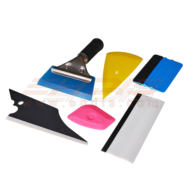 6 PCS Vehicle Glass Protective Film Car Window Wrapping Tint Vinyl Installing Tool glue removing card and rubber Squeegee TK06