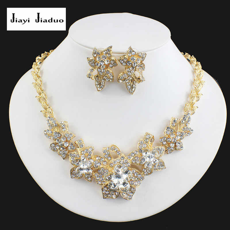 jiayijiaduo fashion classic wedding jewelry set gold-color necklace earrings for the bridal women banquet accessories