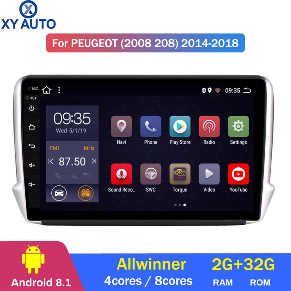 2 5D screen Android 8 1 Car GPS Multimedia For Peugeot 2008