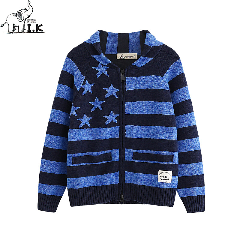 цена на Baby Boys Striped Star Sweaters for Kids Sweater Children Clothes Knit Sweat Shirt Cotton Toddler Cardigans Knitwear Tops 24M-8Y