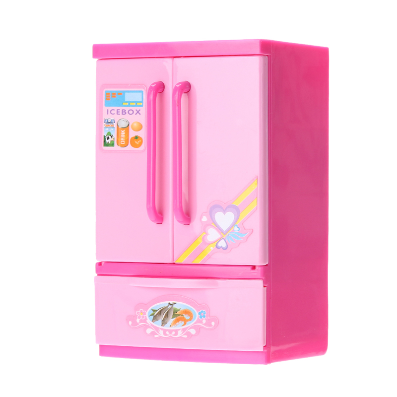 Pink Simulated Fridge Fun Kids Pretend Role Play Toy Refrigerator Mini Indoor Game Children Girls Playing House Toy Fridge