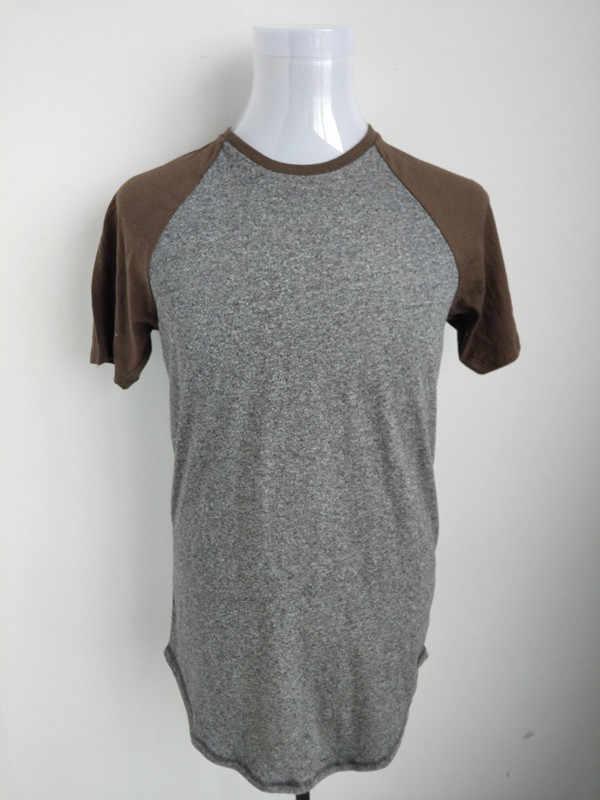 Skate masculino rua hip hop cinza raglan t camisa eua tamanho S-XL (longo)