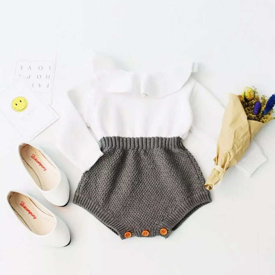 Newborn Infant Baby Girl Wool Knitting Tops Romper Shorts Warm Outfits Clothes Cotton Casual Long Sleeve White Sets iyeal newest 2018 princess newborn baby girl romper lace cotton long sleeve infant jumpsuit headband toddler outfits for 0 12m