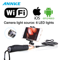 1m Hard Cable IOS Android WiFi Handheld Endoscope 8mm Lens 6 LED Waterproof Iphone Wifi Endoscope Camera Snake Inspection Camera