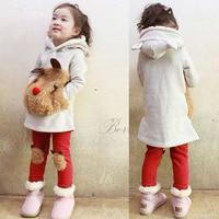 Free Shipping Children Kids Clothing 2013 Autumn Winter Bear Sweater Fleece Baby Set Leggings 2 Sets