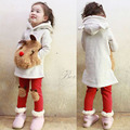 Free Shipping Children Kids Clothing 2013 Autumn Winter Bear Sweater Fleece Baby Set Leggings 2 Sets Girls Suits Clothes LQ003