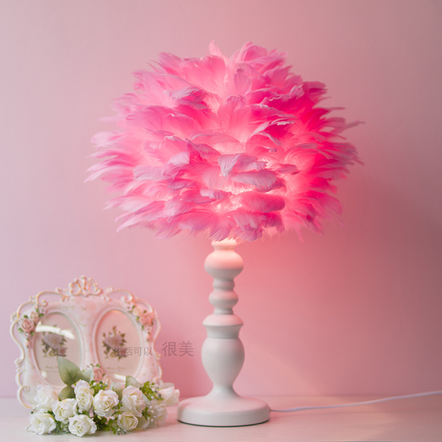 modern pink white feathers table lamp bedroom bedside hotel boutique