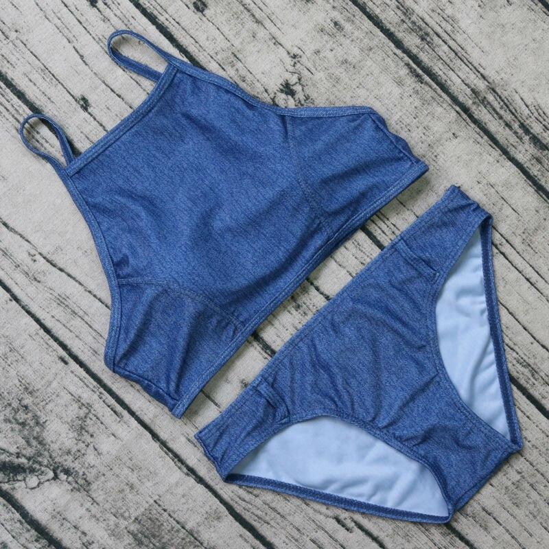 Solid Blue Bikini Set Women 2017 Women Crop Tops Swimwear  Padded Up Tank Bathing Suit Halter Swimming Bandeau Bikini halter bandeau padded moulded bikini set