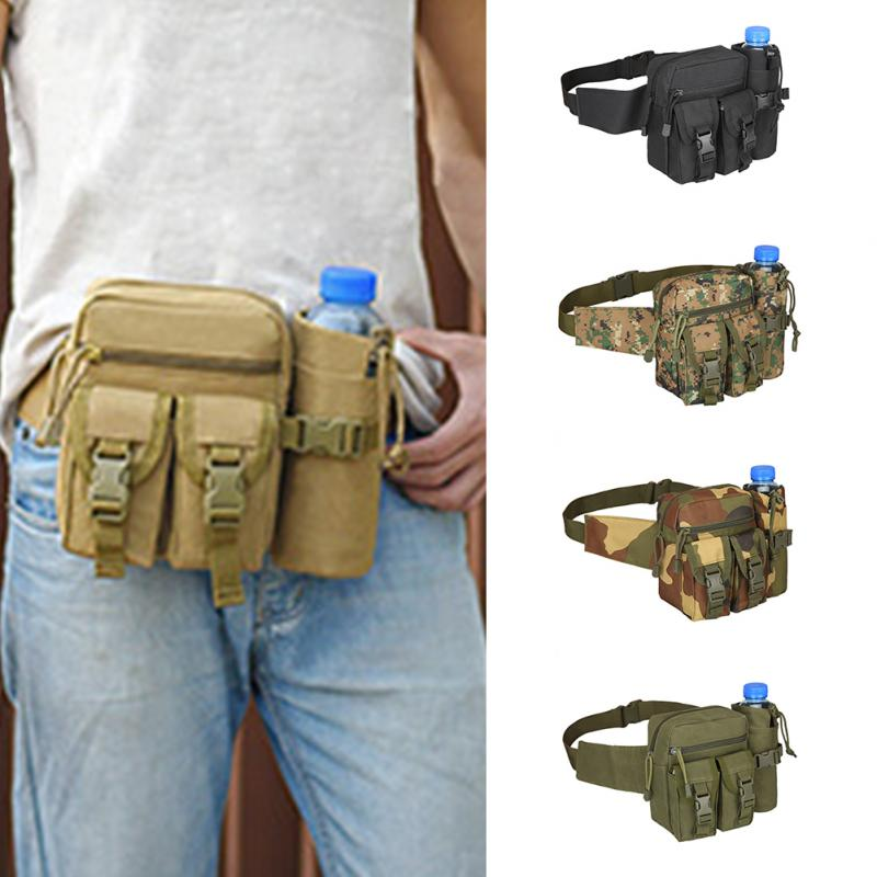 Unisex Durable Nylon Material Tactical Belt Bag Military Travel Hiking Running Water Bottle Adjustable Belt Fanny Waist Bag
