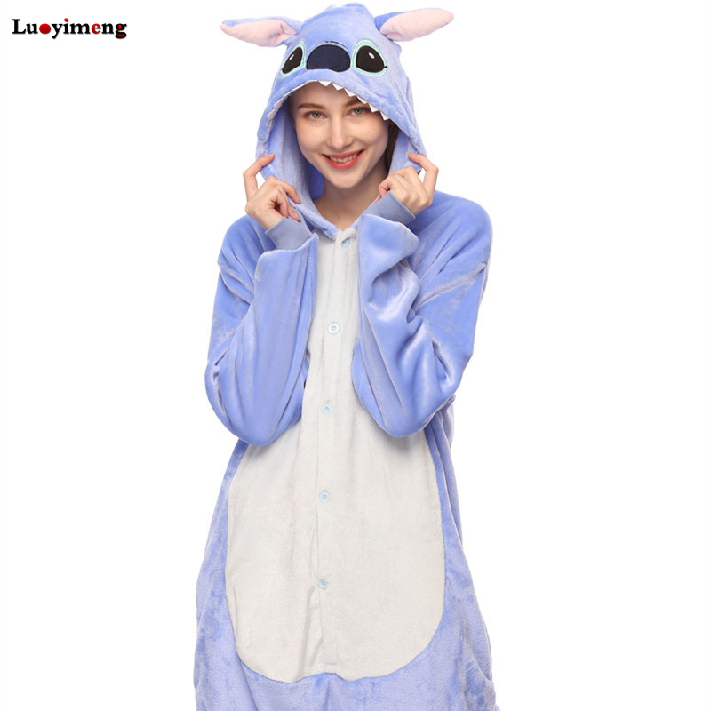 Pink Unicorn   Pajamas     Sets   Flannel Animal Pijama Winter Nightie Stitch Unicornio Sleepwear for Women Men Onesies Adults Homewear