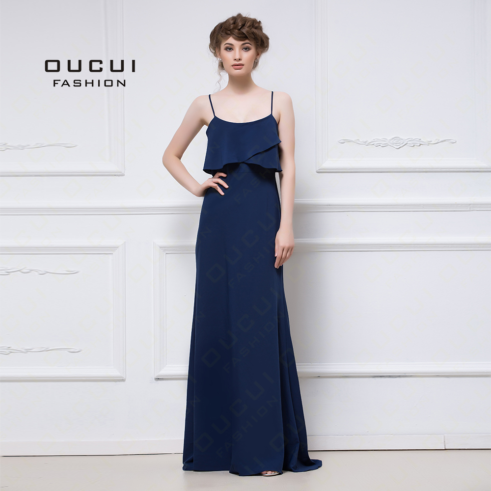 Navy   Bridesmaid     Dresses   Long A-Line Spaghetti Straps Chiffon Plus Size Sexy Back Simple Wedding Party   Dress   For Women OL103057