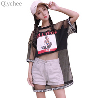 Qlychee Sexy Women Summer Harajuku Style Tee Top Mesh Patchwork Letter Print T Shirt See Through