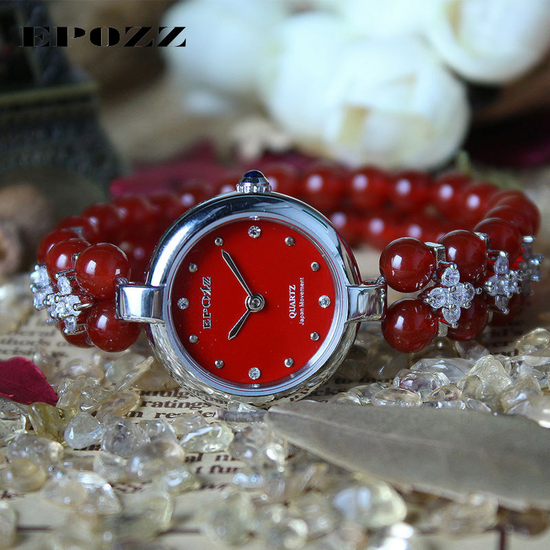 Beauties of Emperor EPOZZ nature gemstone series new quartz watch for women Red Agate bracelet luxury fashion clock H0822S1 nuxe