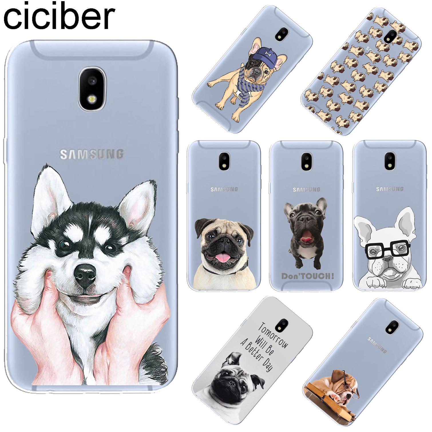 ciciber For Samsung Galaxy J 5 2 3 4 1 6 7 8 Pro Core Prime mini Plus 2016 2017 2018 Soft TPU Phone Case Cute Funny Pug Dog Capa in Fitted Cases from Cellphones Telecommunications