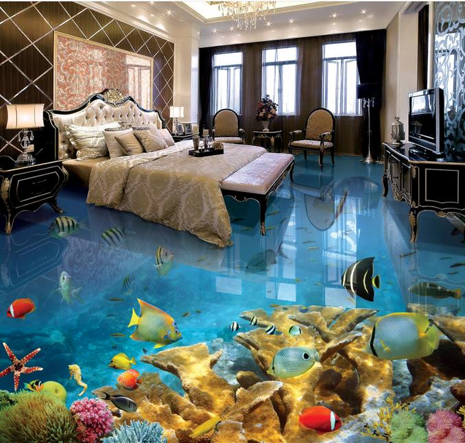 3d Stereoscopic Video 3d Flooring Tropical Fish Wall Mural Wallpaper 3d Floor Murals Wallpapers For Living Room retro personality large world map mural wallpaper 3d painting living room bedroom wallpapers backdrop stereoscopic wall paper