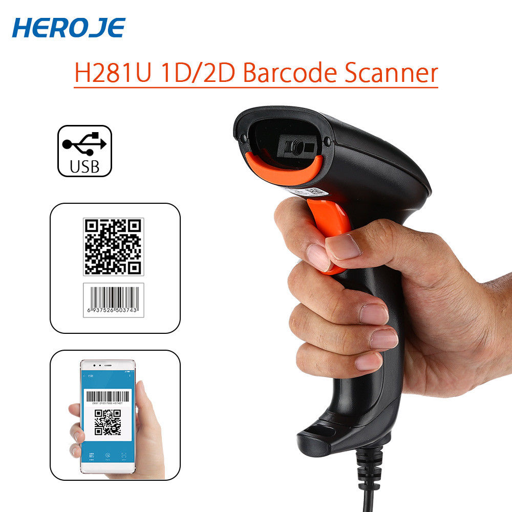 Heroje H281U Portable Wired DataMatrix PDF417 QR Code Scanner 2D USB High Speed 1D 2D Bar Code Scanner Reader For Windows