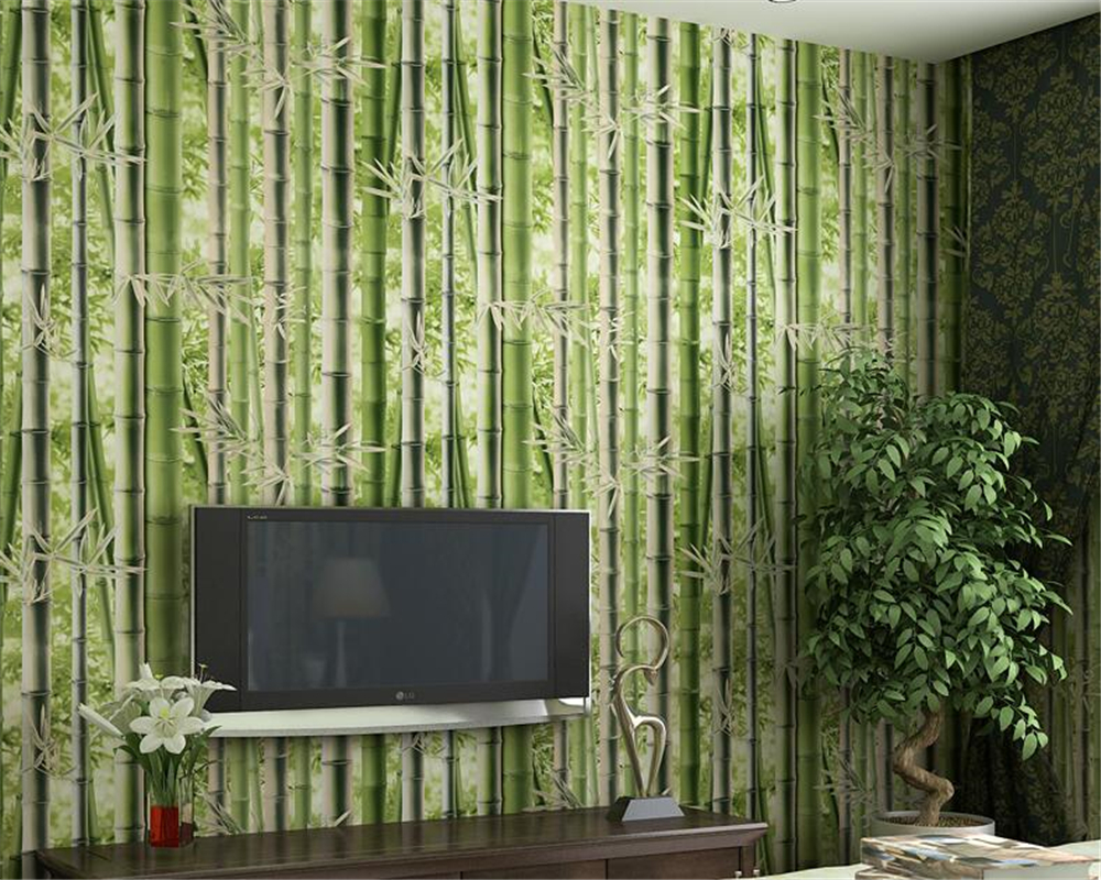 beibehang papel de parede 3d wallpaper Simple style non-woven TV background wall green bamboo three-dimensional wallpaper tapety beibehang elegant bamboo wallpaper 3d papel de parede roll livingroom sofa background wallpaper green bamboo forest wall paper