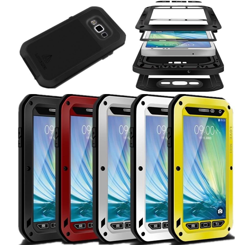 imágenes para AMOR de la Original MEI Vida Armadura A Prueba de agua Caja de Metal Para Samsung Galaxy S3 S4 S5 S6 S7 Nota 3 4 5 A3 A5 A7 A9 Alfa Cubierta