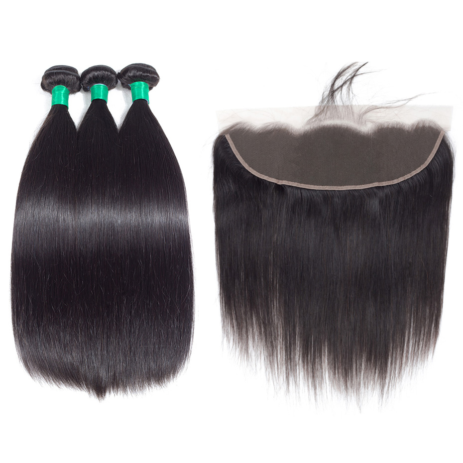 Gabrielle Peruvian Straight Hair Bundles with Frontal Natural Black 8-28 inch Human Hair Weave 3 Bundles with 13x4 Lace Frontal