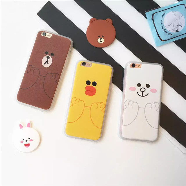 new concept c96f4 5611f US $2.49 |Cartoon Line Friends Brown and Cony Bear and Rabbit Silk PC Hard  Back Cover Case For iPhone 5/5S/SE/6/6S/6 PLUS/6S PLUS on Aliexpress.com |  ...