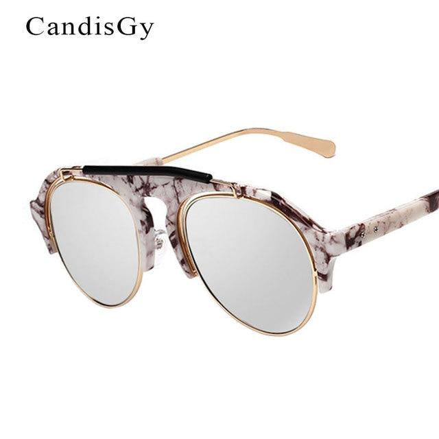 5a6212380c08d Ovale Pierre Étrange Pilote lunettes de Soleil Hippie Parasols Hommes  Moitié Jantes Femmes Mode Lunettes de