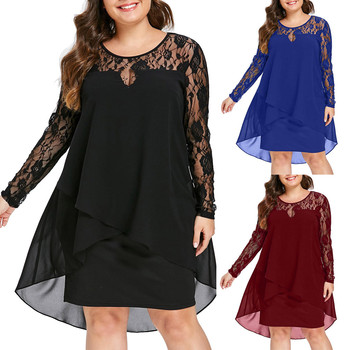 Women Autumn Solid Dress Plus Size Dress Sheer Lace Patchwork Long Sleeve High Low Hem O-Neck Dress Casual party dresses  S-5XL women christmas dresses plus size s 5xl long sleeve o neck loose print casual a line dress new year xmas party dress vestidos