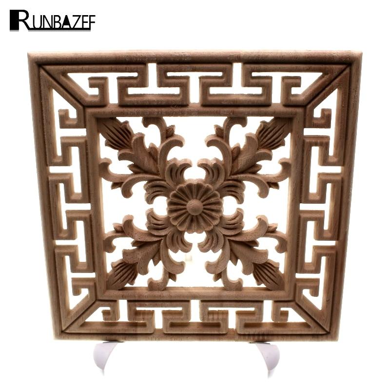 RUNBAZEF Arrival Vintage Unpainted Wood Carved Decal Corner Onlay Applique Frame Home Furniture Wall Cabinet Door Decor Crafts