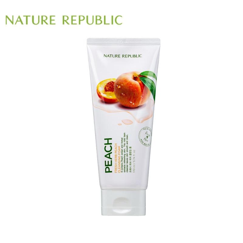 Nature Republic Korean Skin Care 170ml Peach Fresh Herb Peach Cleanser  Vitamin Face Cleansing Moisturizing Whitening Deep Clean