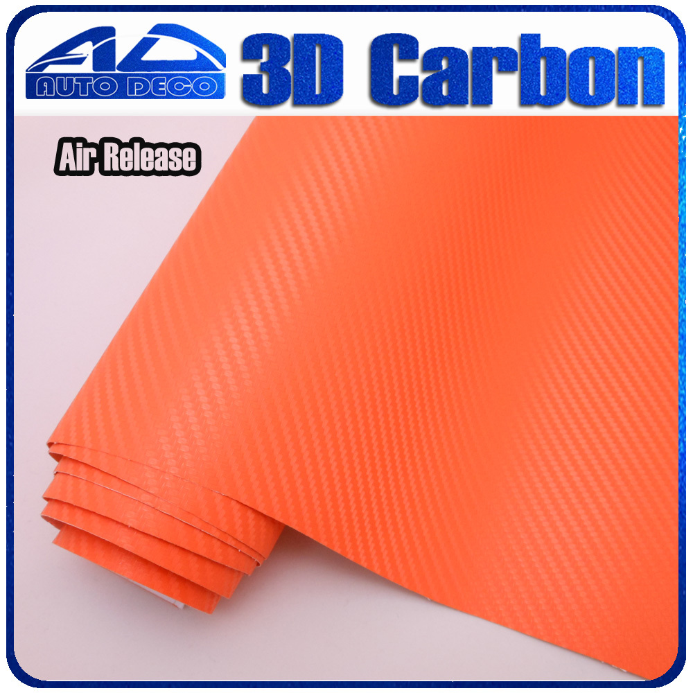 FedEx Free Shipping High Quality 3D Orange Carbon Fiber Vinyl Car Stickers Film Wrap For Car Cover Color Change 30m/Roll