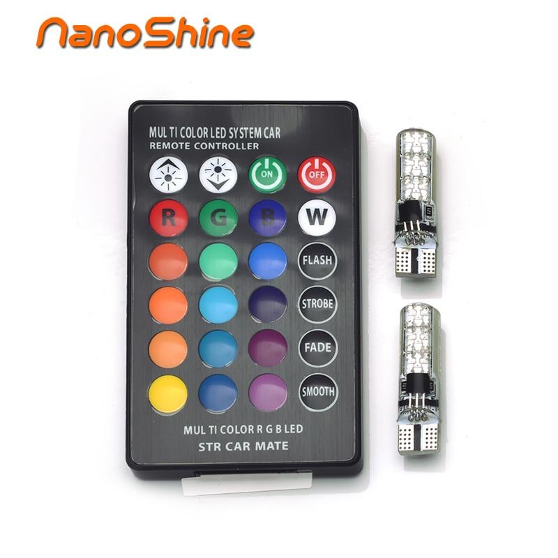 Nanoshine 2pcs coluorful car led light T10 W5W 6SMD 5050 RGB LED automotive led bulb flash strobe fade Car Side Wedge Tail Lamp