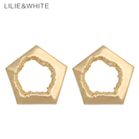 LILIE WHITE 2017 Hollow Tree Hole Big Five Pointed Star Stud Earrings For Girl Punk Metal