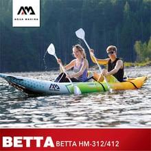 Новая надувная лодка AQUA MARINA Betta HM, двухместная лодка для рыбалки и гребли, надувной каяк, спортивное каноэ, 2019*83 см/312*83 см, 412