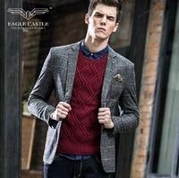 EagleCastle high quality 2015 men autumn super slim deep grey full sleeve casual plaid retro england style suits blazers fashion