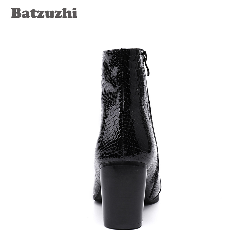 028f0ba37 Batzuzhi 7CM High Heels Men Boots Pointed Toe Black Leather Boots Men  Handsome Ankle Boots for Men Wedding & Party, Size 38 46 on Aliexpress.com  | Alibaba ...