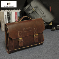 New Fashion Retro Solid Genuine Good Design Classic Men Handbag Briefcase Brand White Collar Coffee Color