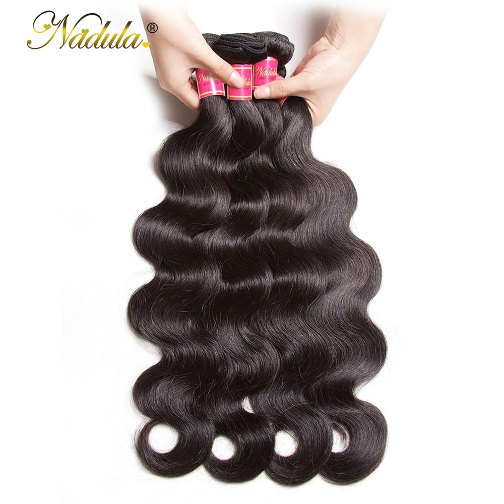 Nadula Haar 3 Bündel / 4pc / Lot peruanisches Körper-Wellen-Haar - Menschenhaar (für Schwarz)