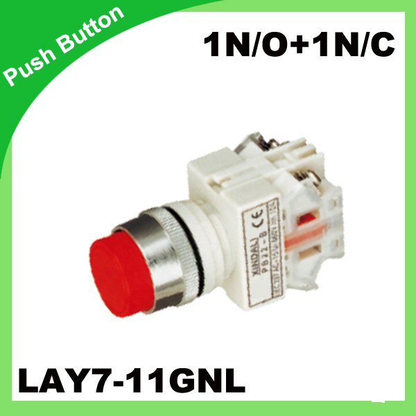 Кнопка 1N/O + 1N/c lay7-11gnl (y090-11gnl) переключатель 22 мм 50/60 Гц выпуклые сенсорный выключатель Цвет дополнительно