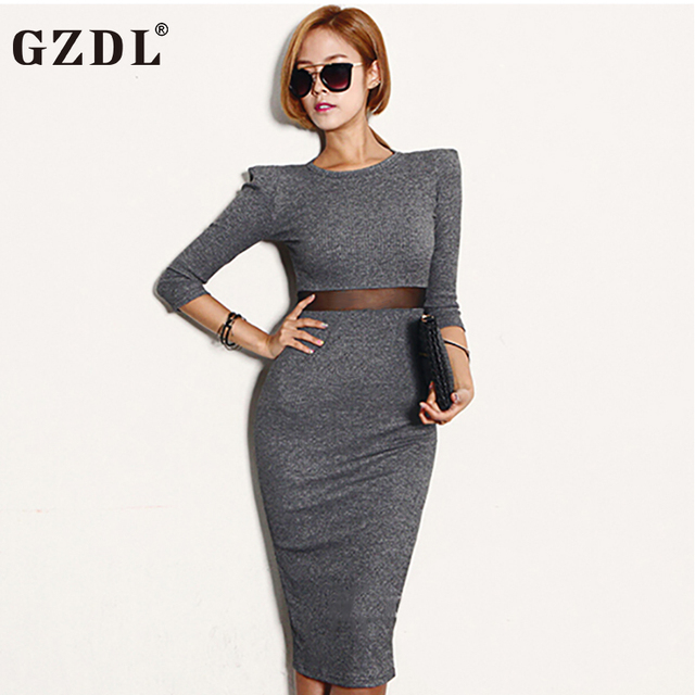 2017 New Ladies Party/Office/ Club Bodycon Dress – Long Sleeve Spring Autumn Dress