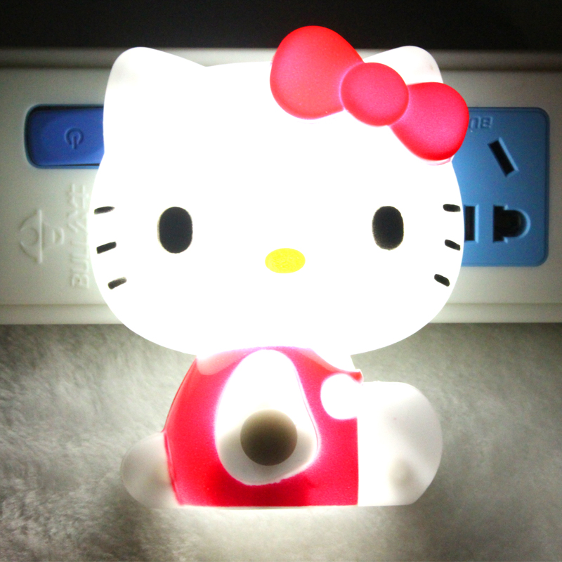 New Arrival Hello Kitty Led Night Light Ac110v 220v Baby Bedroom Lamp 4 Color Eu Plug Night