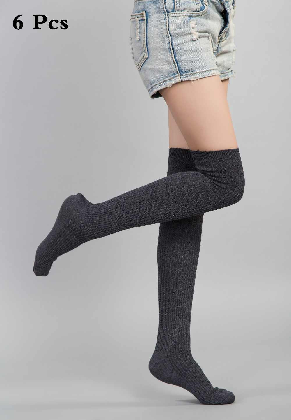a2e9c83e1 Feishilianyu Corolful Sexy Fashion Knit Stockings Women Cotton Long Knee  High Thigh High Stockings for Women