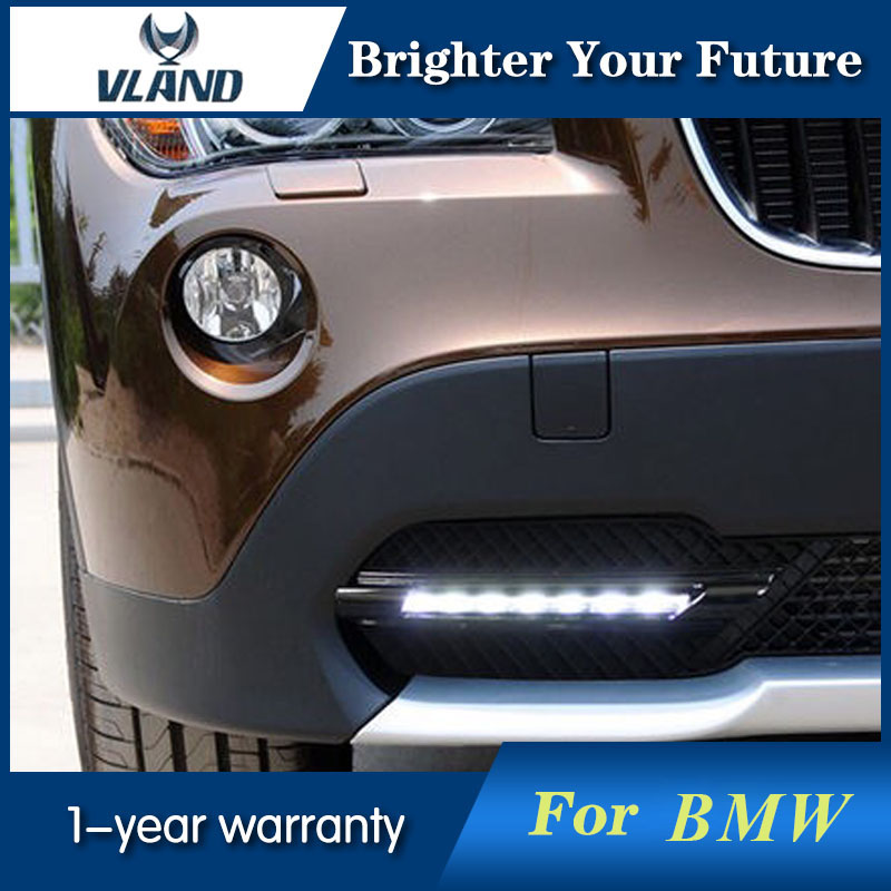 2Pcs White DRL Daytime Running Light For BMW X1 E84 2010 2011 2012 LED Driving Fog Lamp With Grille Grill Cover