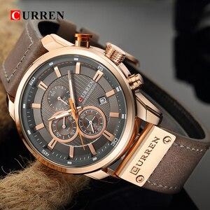 Image 5 - CURREN יוקרה מותג גברים צבאי ספורט שעונים גברים של קוורץ שעון עור רצועה עמיד למים תאריך שעוני יד Reloj Hombre