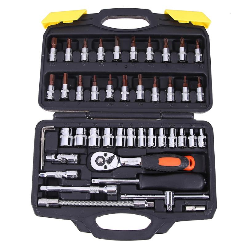 46pcs/set Socket Ratchet Torque Wrench Extension Bar Drill Bits Automobiles Repair Tools Kit Multifunction Repair Hand Tool Kit veconor 46pc high quality socket set car repair tool ratchet set torque wrench combination bit a set of keys chrome vanadium