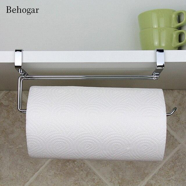 Behogar Kitchen Paper Holder Hanger Tissue Roll Towel Rack Bathroom Toilet  Sink Door Hanging Organizer Storage