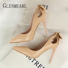 Women Pumps Pointed Toe Sexy Heels Butterfly Knot Woman High Heels Brand Slip on Spring Casual Party Wedding Shoes Dress New DE